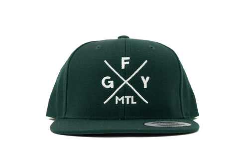GOAL X GFY Snapback Cap, Forest Green, Front View