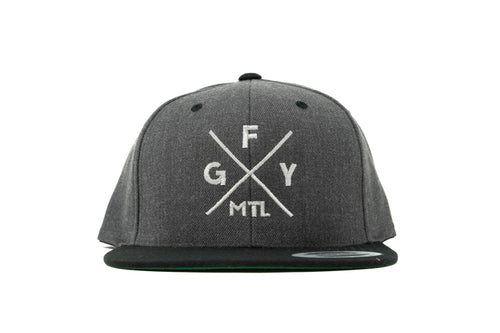 GOAL X GFY Snapback Cap, Grey & White, Front View