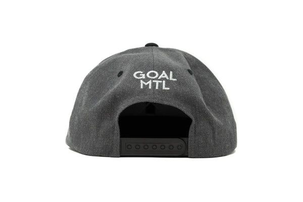 GOAL X GFY Snapback Cap, Grey & White, Back View