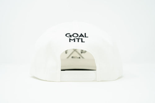 GOAL X GFY Snapback Cap, White & Black, Back View