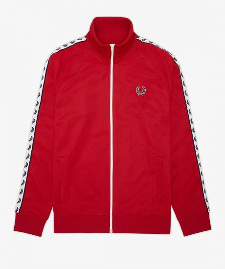 Fred Perry Laurel Taped Track Jacket Red