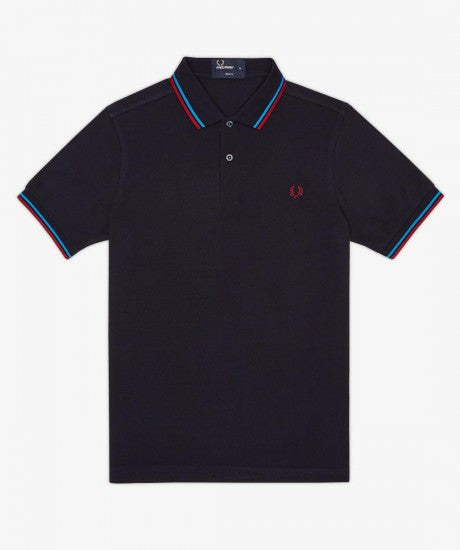Fred Perry Slim Fit Twin Tipped Polo Navy