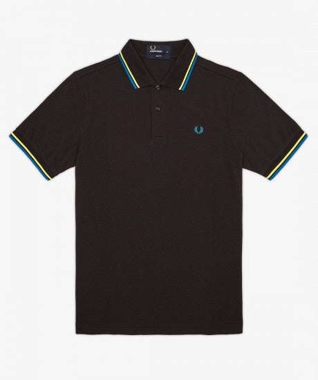 Fred Perry Slim Fit Twin Tipped Polo, Black