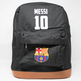 Black school bag with Messi #10 and FC Barcelona logo printed on the front