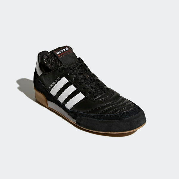 Side view of the adidas mundial goal indoor soccer shoe