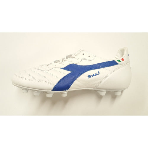 Diadora Brasil Made In Italy White OG FG Soccer Cleat, Leather Upper, 12 Conical Studs, Side View