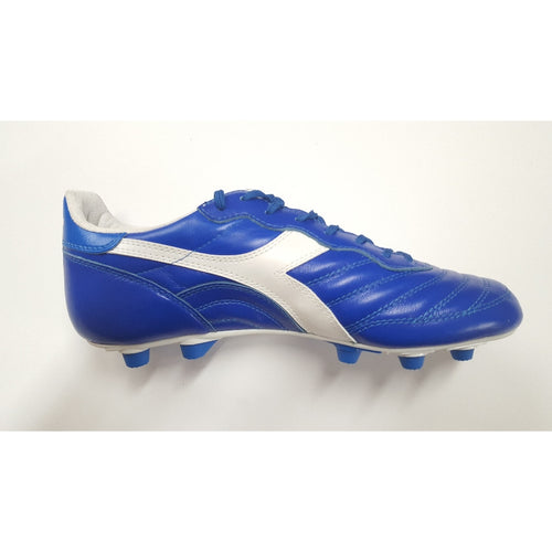 Diadora Brasil Made In Italy LT Royal Blue FG Soccer Cleat, Leather Upper, 12 Conical Studs, Side View