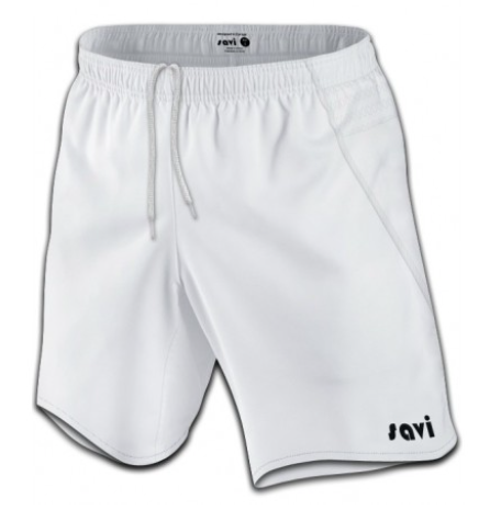 Front view of white soccer shorts with a black Savi logo