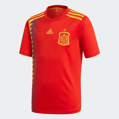 Adidas Spain World Cup 2018 Youth Soccer Jersey, Short Sleeve, Red & Yellow, Front View
