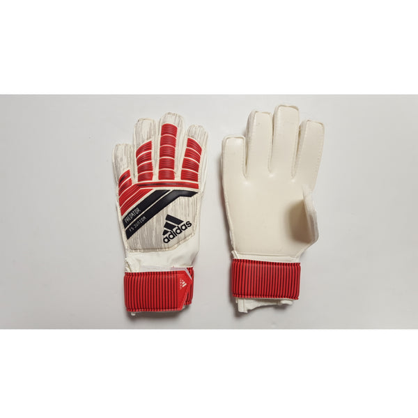 Adidas Predator FS Youth Goalkeeper Gloves, Flat Cut, Finger Protection, White & Orange