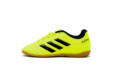 Adidas Youth Copa 19.4 Indoor Soccer Futsal Shoe, Fluo, Synthetic Upper, Rubber Soleplate, Side View