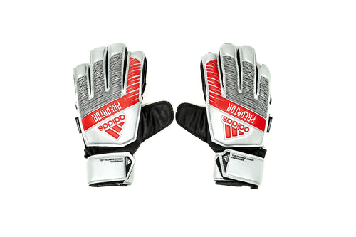 Adidas Predator Trainer FS Youth Goalkeeper Gloves, Silver, Flat Cut, Finger Protection
