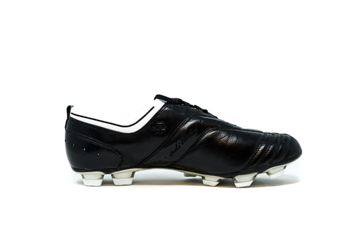 Adidas AdiPure II TRX FG Soccer Cleat, Black & White, Calf Leather Upper, 12 Conical Studs, Side View