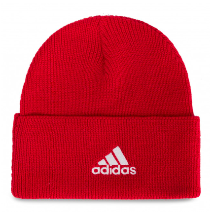 red adidas tuque with a cuff