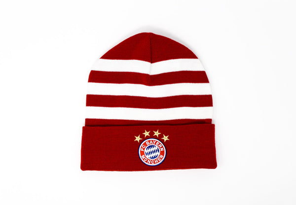 Adidas Bayern Munich White & Red 3-Stripes Tuque, Front View