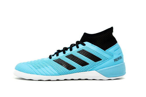Adidas Predator 19.3 Indoor Soccer Futsal Shoe, Blue, Synthetic Upper, Rubber Soleplate, Side View