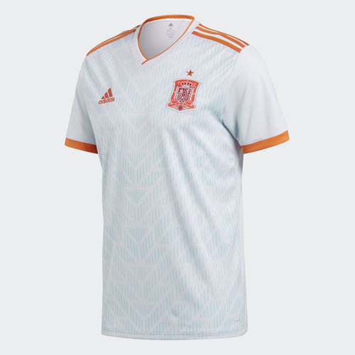 Adidas Spain World Cup 2018 Away Replica Soccer Jersey, Short Sleeve, White & Blue