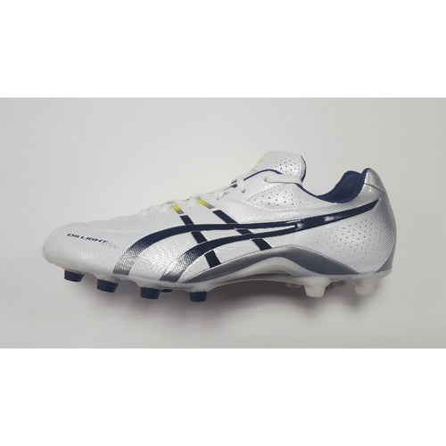 Asics DS Light Wide White FG Soccer Cleat, K-Leather Upper, 12 Conical Studs, Side View