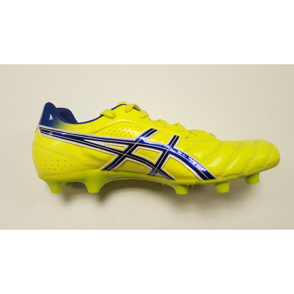 Asics DS Light Yellow & Blue FG Soccer Cleat, K-Leather Upper, 12 Conical Studs, Side View