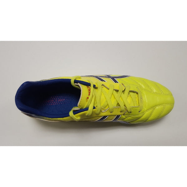 Asics DS Light Yellow & Blue FG Soccer Cleat, K-Leather Upper, 12 Conical Studs, Aerial View