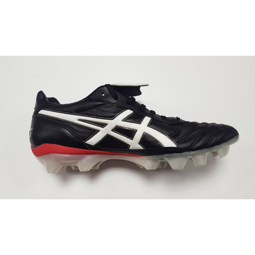 Asics Lethal Testimonial 2 Black FG Soccer Cleat, K-Leather Upper, 12 Conical Studs, Side View