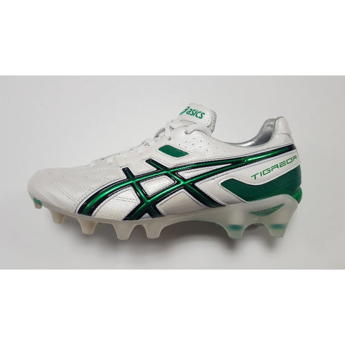 Asics Lethal Tigreor 3 White & Green FG Soccer Cleat, K-Leather Upper, 12 Conical Studs, Side View