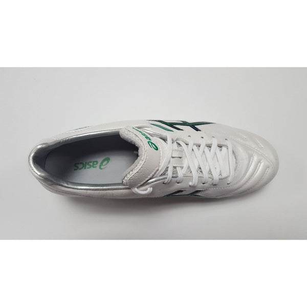 Asics Lethal Tigreor 3 White & Green FG Soccer Cleat, K-Leather Upper, 12 Conical Studs, Aerial View