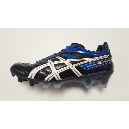 Asics Lethal Tigreor 4 Blue FG Soccer Cleat, K-Leather Upper, 12 Conical Studs, Side View