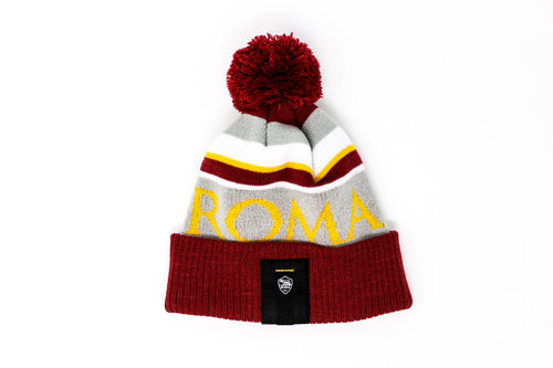 AS Roma Knitted POM Beanie, Red & Yellow