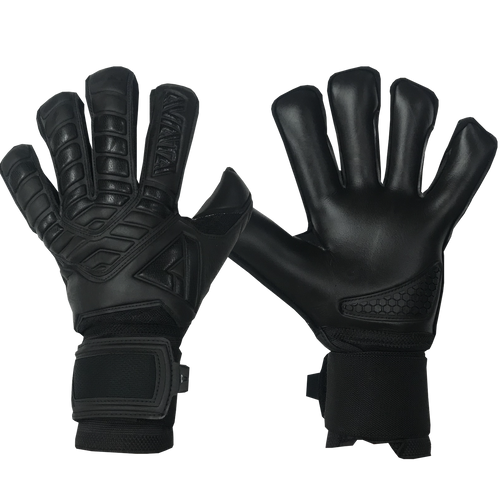 Aviata Halcyon Turf Blackout Goalkeeper Gloves, Black, Hybrid Roll-Finger Flat Cut