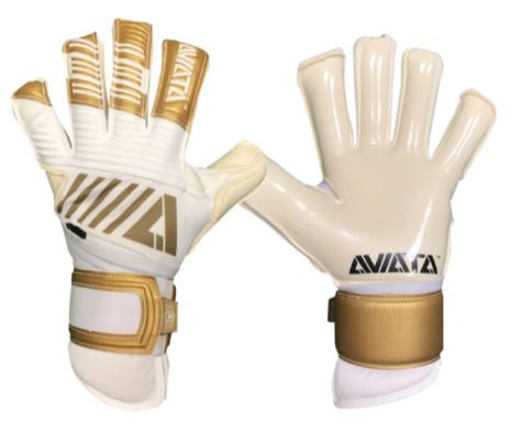 Aviata Stretta Maestro Oro Ultimate Goalkeeper Gloves, White & Gold, Roll-Finger & Negative Cut, Finger Protection