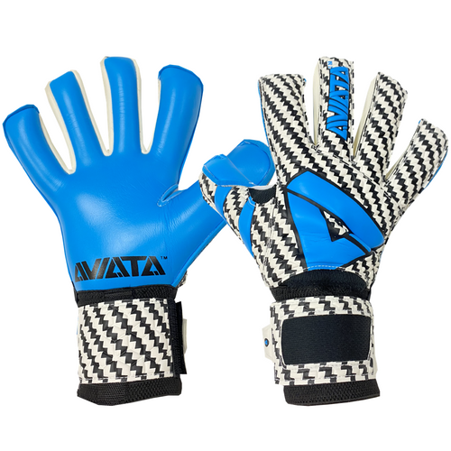 Aviata Viper Zafari Goalkeeper Gloves, White & Blue, Hybrid Roll-Finger Negative Cut