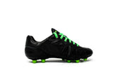 Akuna Cinquestelle Classica Special Edtion FG Soccer Cleat, Black/Green, K-Leather Upper, 12 Conical Studs, Side View