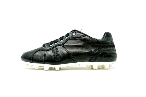Akuna Cinquestelle Classica FG Soccer Cleat, Black & White, K-Leather Upper, 12 Conical Studs, Side View
