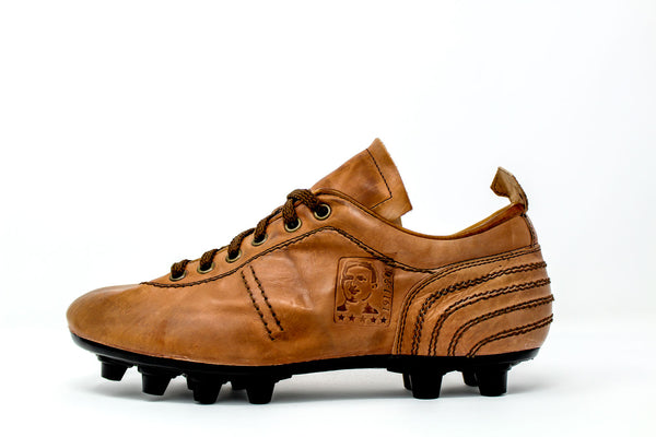Akuna Cinquestelle Storica FG Soccer Cleats, Brown Leather, 12 Conical Studs, Side View