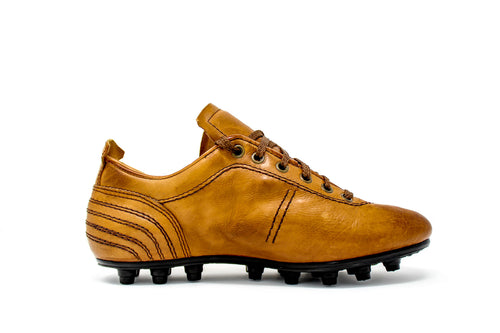 Akuna Cinquestelle Storica HG Soccer Cleats, Brown Calf Leather, 19 Conical Studs, Side View