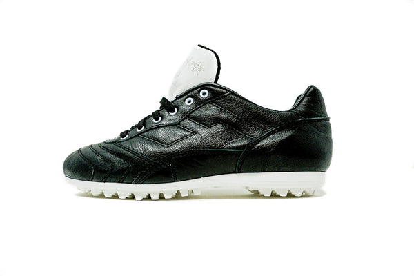 Akuna Cinquestelle Toro TF Soccer Cleat, Black & White, Buffalo Leather, Rubber Studs, Side View