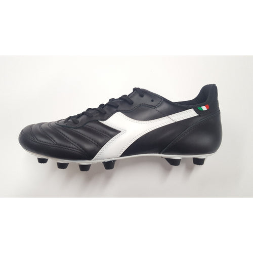 Diadora Brasil Made In Italy LT Black FG Soccer Cleat, Leather Upper, 12 Conical Studs, Side View