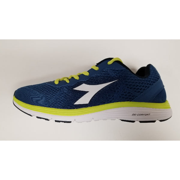 Diadora Swan Training Shoe, Navy & Fluo, Side View