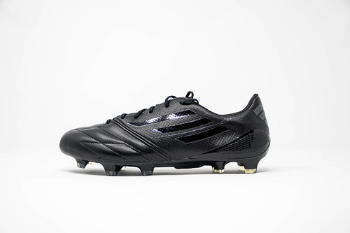 adidas black f50 adizero soccer cleat with plastic studs - side view