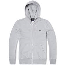 Fred Perry Loopback Full Zip Hoodie, Grey