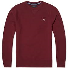 Fred Perry Loopback Crew Sweater, Burgundy