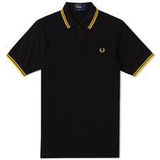 Fred Perry Tipped Polo, Black & Yellow