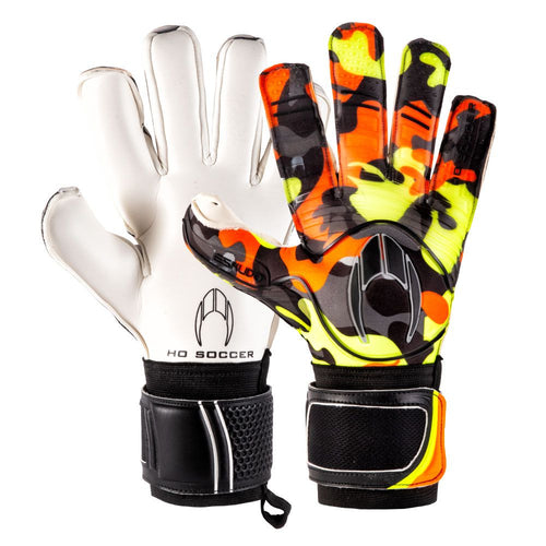 HO Eskudo Action Roll/Negative Goalkeeper Gloves, Orange, Roll-Finger & Negative Cut
