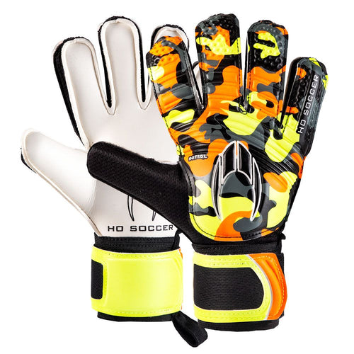 HO Initial Flat Goalkeeper Gloves, Orange, Flat Cut