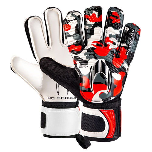 HO Initial Flat Goalkeeper Gloves, Red, Flat Cut