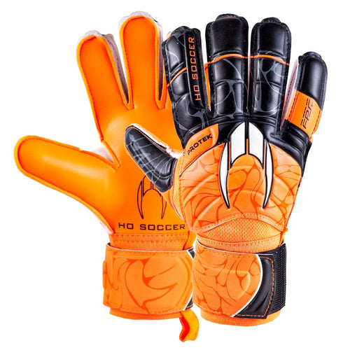 HO Primary Protek Flat Goalkeeper Gloves, Orange, Flat Cut, Finger Protection