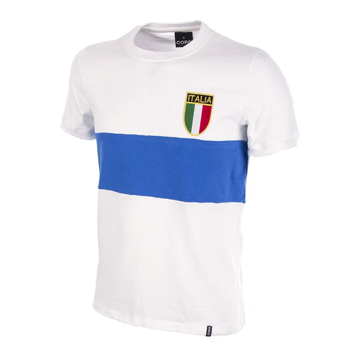 COPA Football Italy 1970 Away White & Blue Short Sleeve Retro Shirt