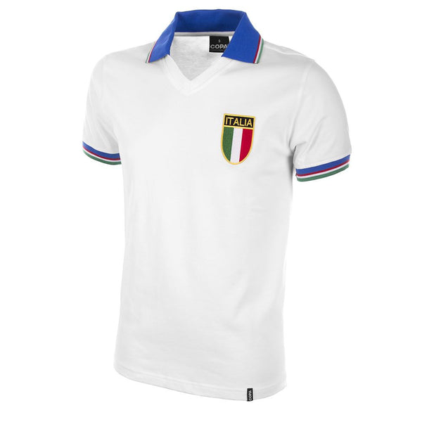 COPA Football Italy World Cup '82 Short Sleeve White & Blue Away Retro Shirt