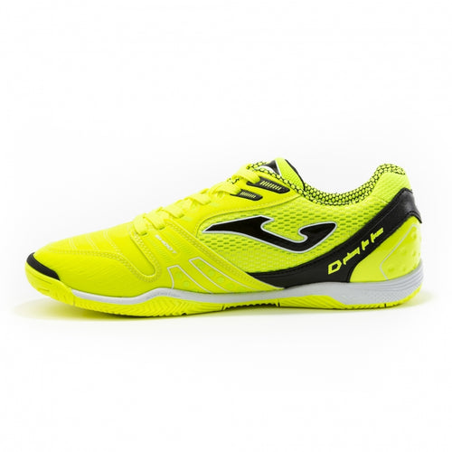 Joma Dribling Indoor Soccer Futsal Shoe, Fluorescent, Fibertec Upper, Rubber Soleplate, Side View